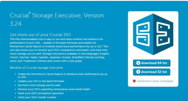 Crucial Storage Executive 3.24のダウンロード