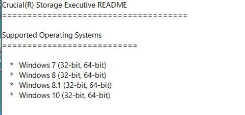 Crucial Storage Executive 3.24の対応OS