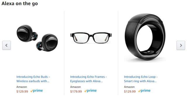 Alexa Echo Frames, Echo Buds, Echo Loop